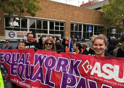CTR rally equal pay banner